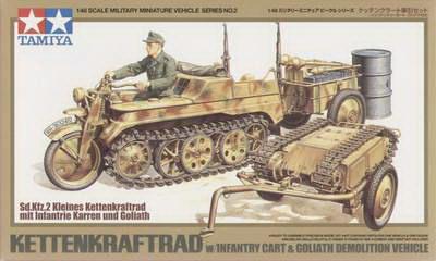 Kettenkraftrad w/Cart+Goliath 1/48